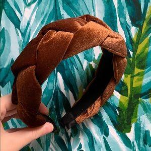 NEW Brown velvet braided twisted headband